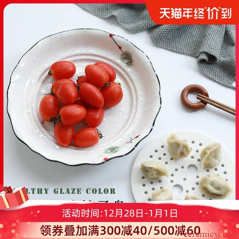 Jingdezhen ceramic plate household rectangular double - deck waterlogging under caused by excessive rainfall steamed dumpling dish of steamed fish dish Nordic dumpling dinner plate