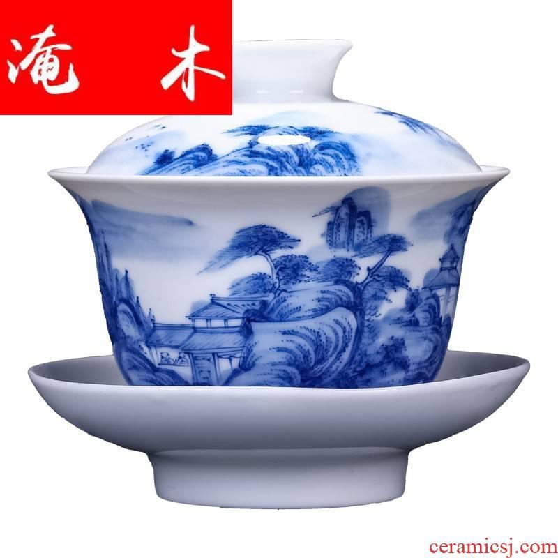 Submerged wood jingdezhen only three bowl of blue and white large kung fu tea tea tureen hand - made glass ceramic tea bowl
