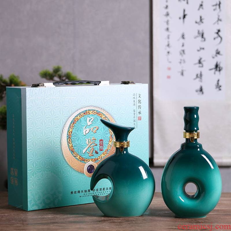 Jingdezhen ceramic bottle 1 catty decoration ideas of liquor bottles of Chinese little hip a kilo household sealed bottles