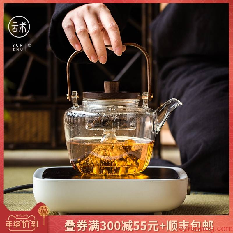 Japanese more heat resistant glass teapot electric TaoLu boiled tea steamer high - temperature double bile single girder pot pot teapot