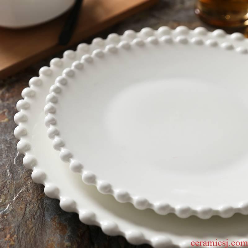 Web celebrity of beads ceramic breakfast tray was breakfast steak plate jewelry plate oatmeal bowl bowl pearl lace shooting props