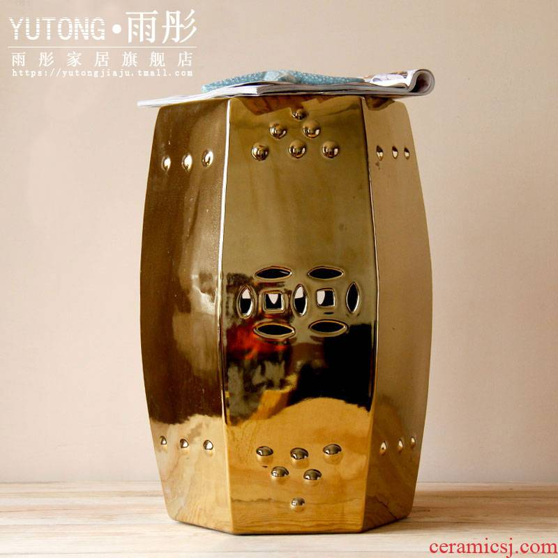 Jingdezhen ceramic gold - plated checking ceramic who in shoes who household creative square who six edge round adornment in shoes