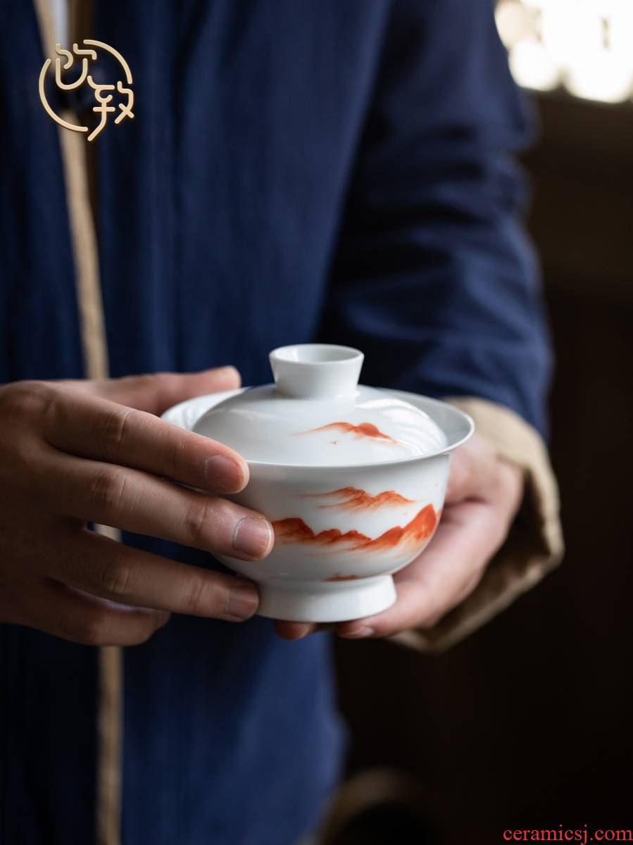 Ultimately responds to extra large tureen teacups hand - made kung fu to three bowl of blue and white porcelain cover cup antique tea tea bowl of tea set