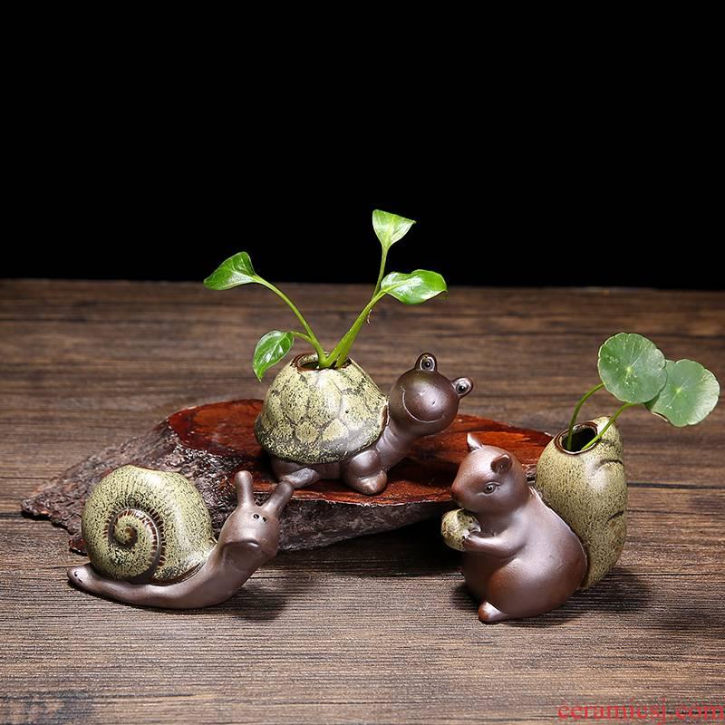 To embellish the mini small imitation stone flower pot coarse pottery nonporous retro flower vase move bag mail hydroponic the plants