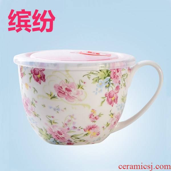 The New product with cover teaspoons of ipads China sealed cup last bowl large cup of soup cup, lovely cereal household noodles for breakfast