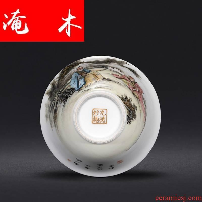 Flooded hand - made wooden jingdezhen ceramics powder enamel characters all hand three tureen kung fu tea set