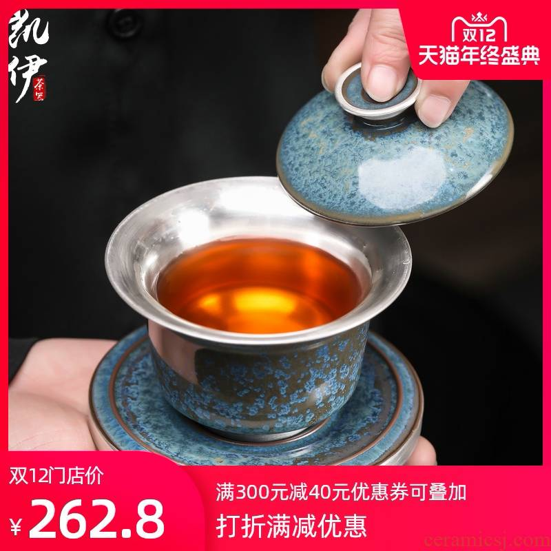 Taiwan floating cui aquamarine ceramic tureen large coppering. As silver tea cups three bowl bowl of kung fu suit household