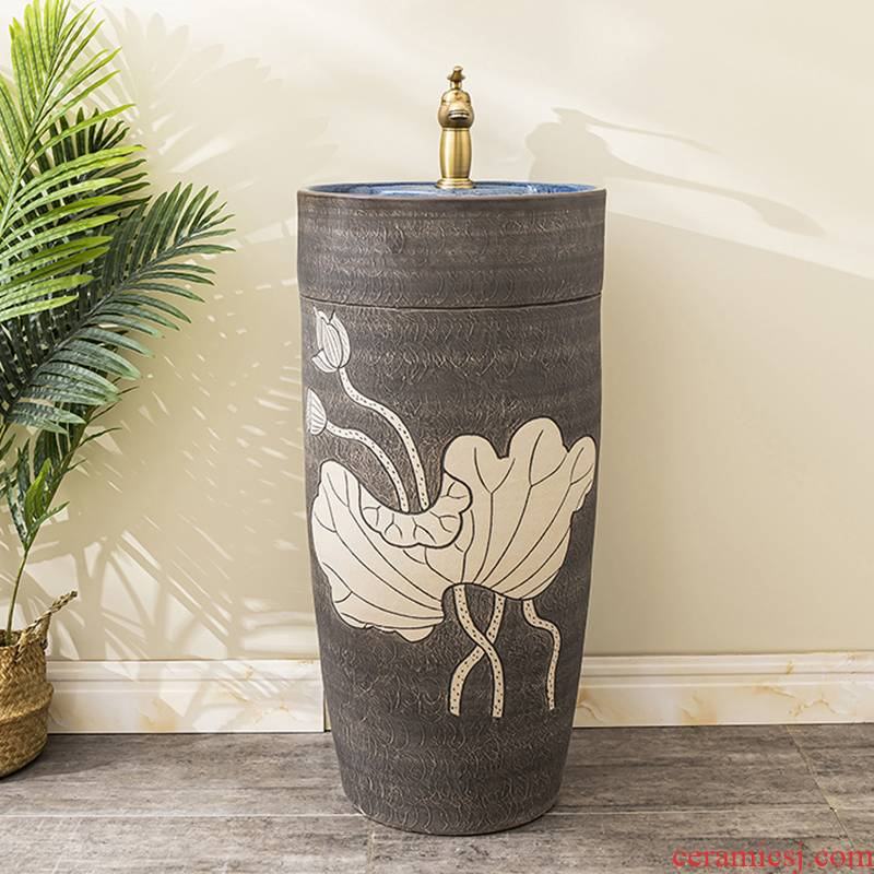 Ceramic floor pillar lavabo toilet lavatory basin basin of is suing household one pillar 7 balcony