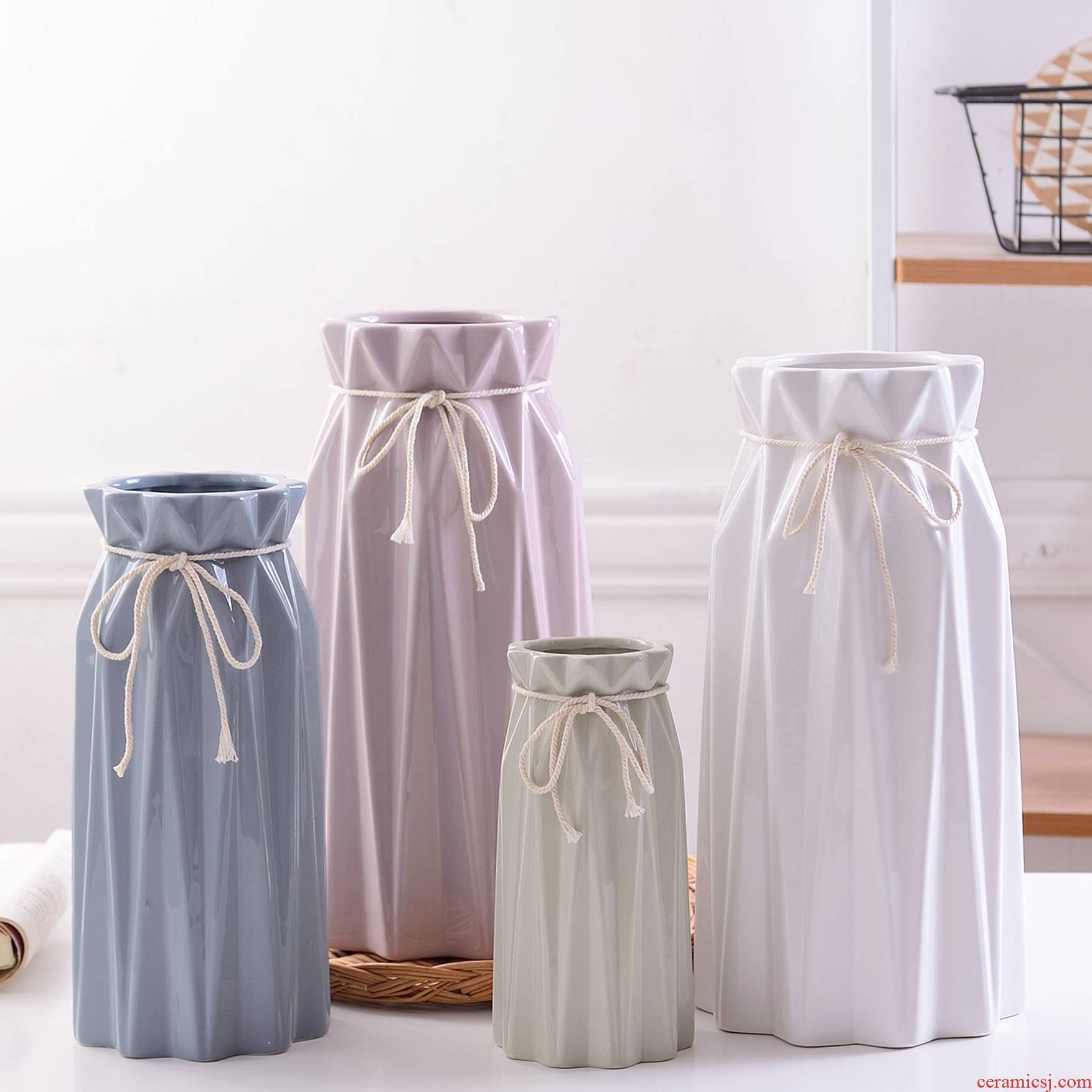 Nordic contracted a cold wind morandi color paper folding bow ceramic vases, flower, adornment is placed