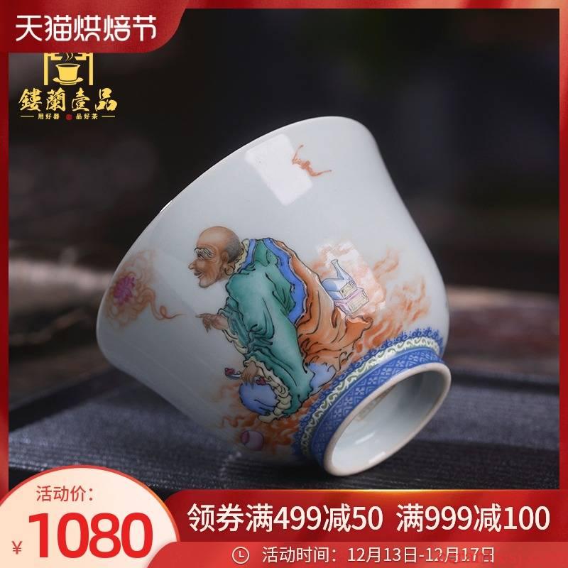 Jingdezhen ceramic all hand - made pastel amitayus master of kung fu tea tea cup individual sample tea cup