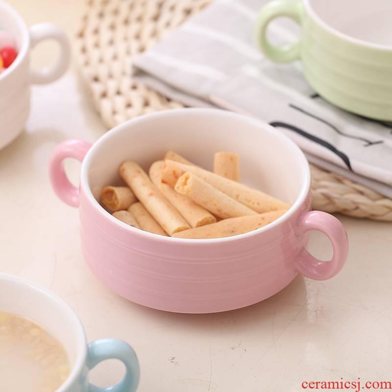 Ceramic ears porridge steamed egg bake them only children 's creative soup bowl dessert salad pudding bowl