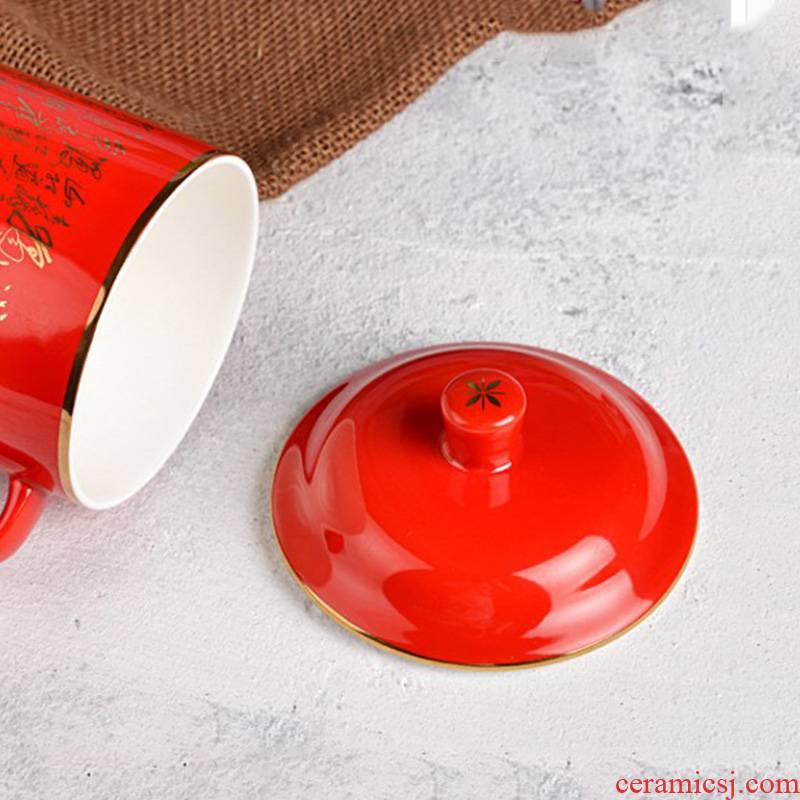 Hand made pottery under glaze porcelain cup lid China red general huang emperor boss cup lid factory direct sale