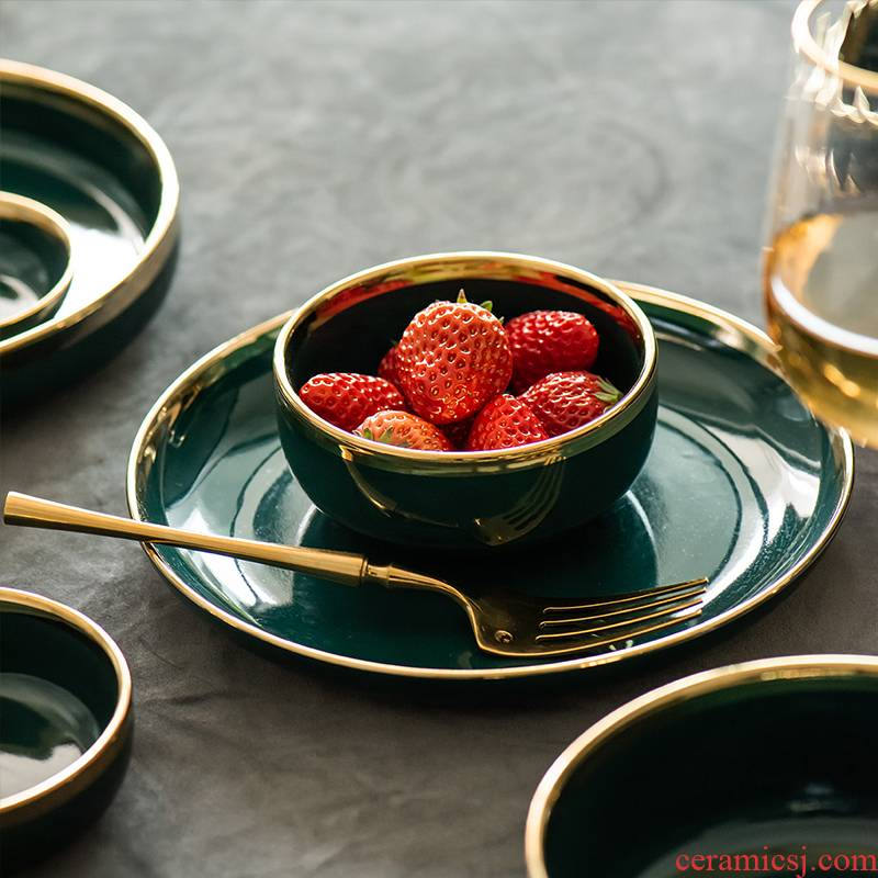 Nordic light ins web celebrity up phnom penh key-2 luxury home suit emerald plate tableware ceramic bowl dish dish bowl