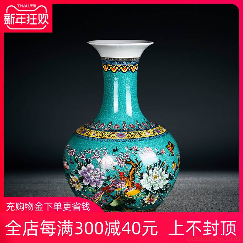 Jingdezhen ceramics home furnishing articles landing a large vase, the sitting room porch colored enamel painting of flowers and gold green bottles
