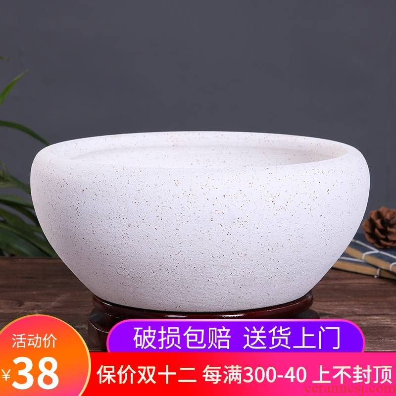 Jingdezhen ceramic aquarium tortoise cylinder large desktop goldfish bowl lotus feng shui sleep flowerpot refers to basin cylinder porcelain basin