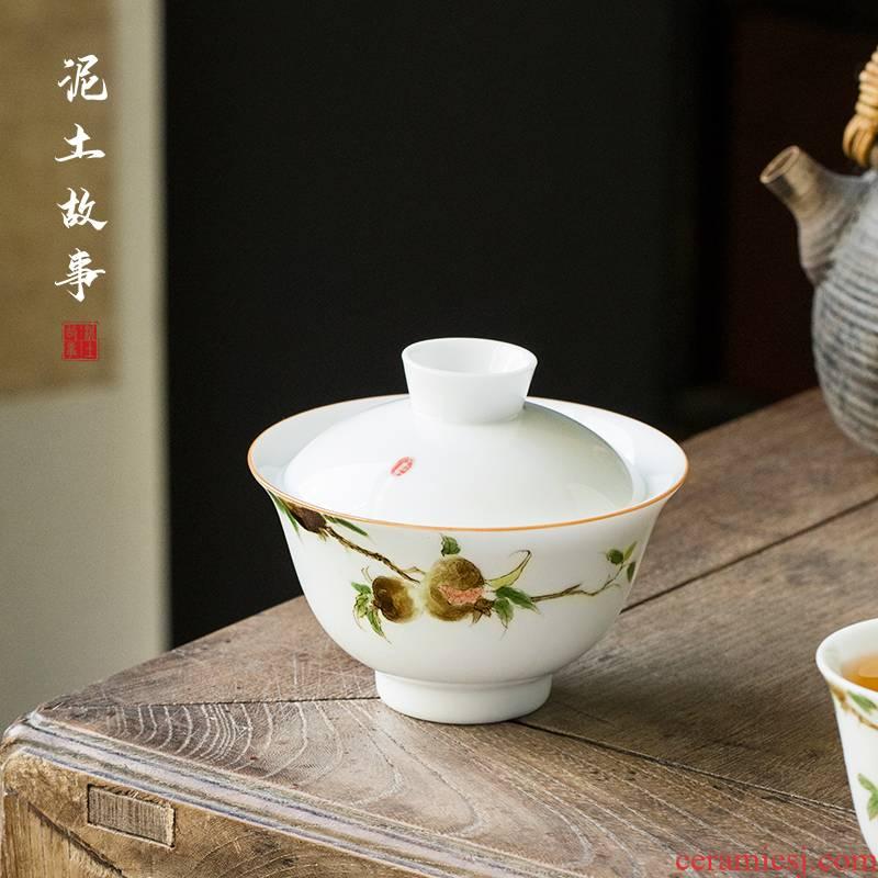 Jingdezhen hand - made persimmon pomegranate Jingdezhen ceramic only three tureen hand tureen cups all hand kung fu tea set
