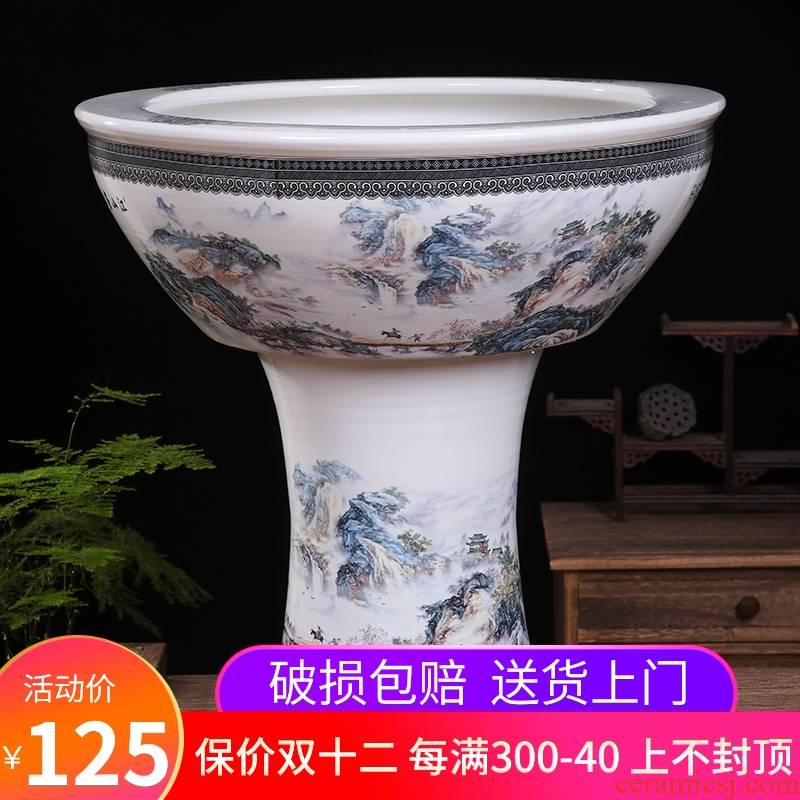 Jingdezhen ceramic tank floor pillar type large sitting room water stone basin to the tortoise cylinder water lily bowl lotus garden