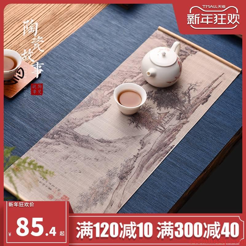 Ceramic story bamboo tea table small color printing and fine bamboo filament mat table flag zen tea tray tea tea accessories