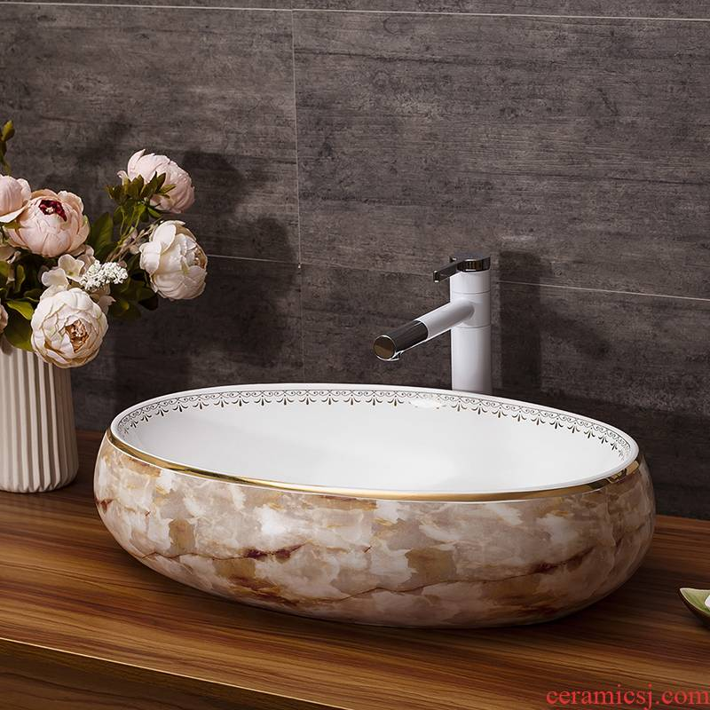 Art basin of continental circular marble pattern of jingdezhen ceramic stage basin bathroom sinks to the sink