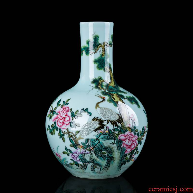 Hand - made ceramic vase bucket crane vase furnishing articles sitting room flower arranging bottles of jingdezhen Chinese enamel vase