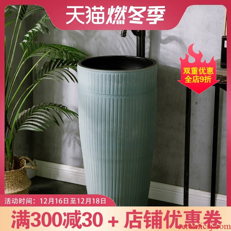 European - style balcony column courtyard is suing toilet bowl lavatory pool one ceramic cylinder of the sink