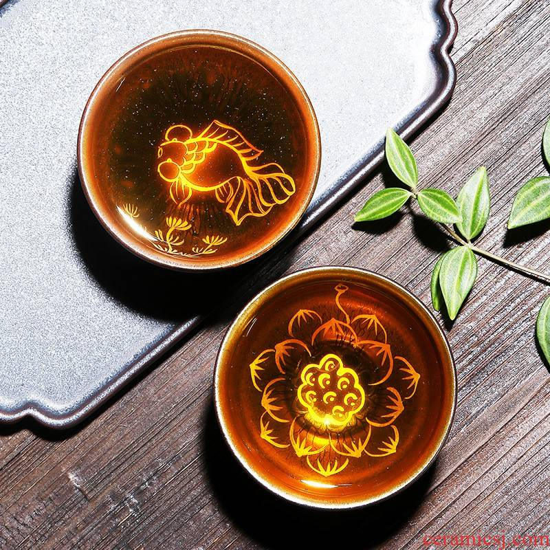 Hui shi depicts coppering. As YinJian lamp cup tea master single CPU checking ceramic bowl kung fu tea set sample tea cup