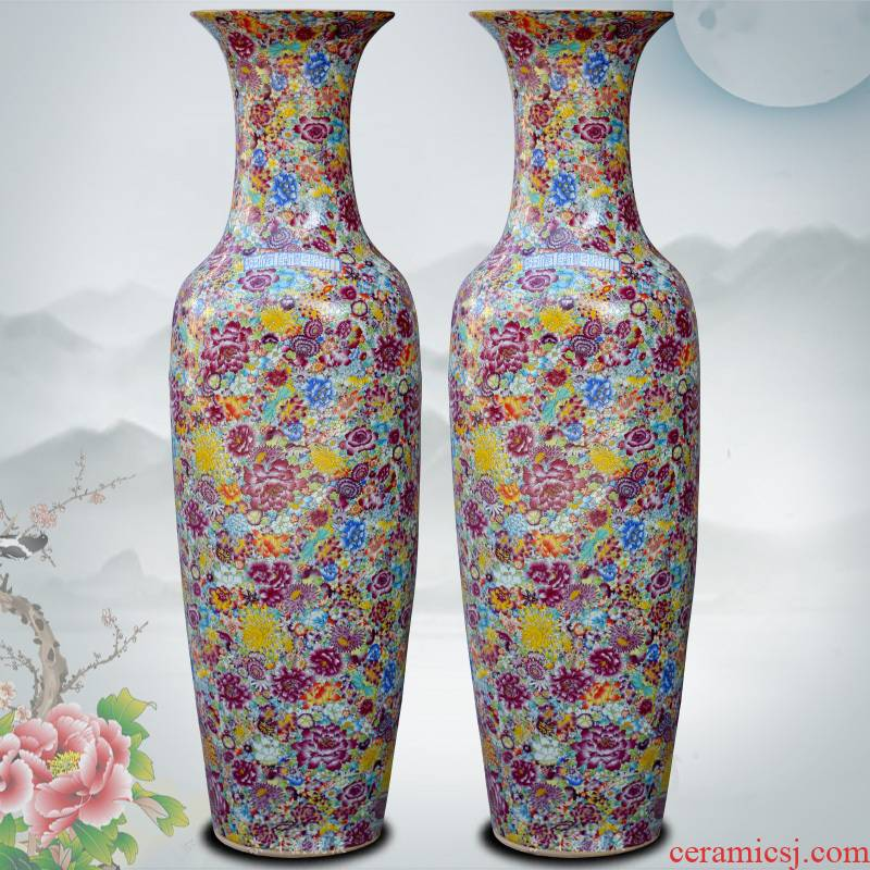 Jingdezhen ceramics from pastel full of large vases, home furnishing articles sitting room of Chinese style hotel adornment