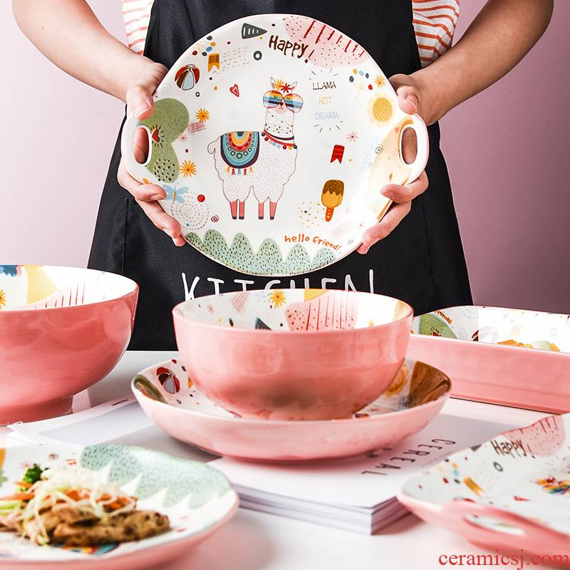 Creative express girl heart tableware bowls web celebrity dishes suit alpaca fusion ceramic plate