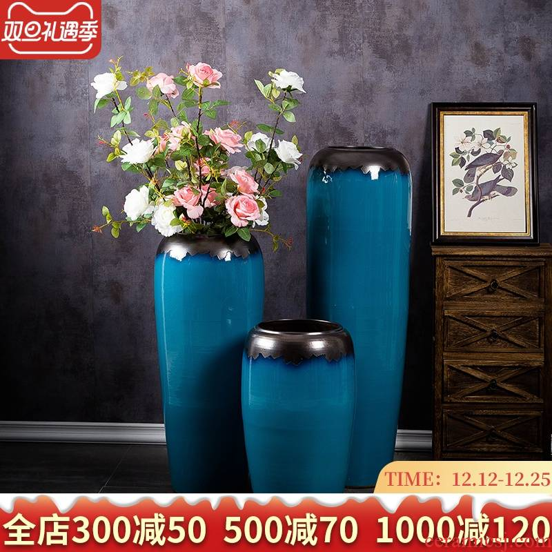 Jingdezhen of large vases, ceramic hotel lobby decorative dried flowers flower arrangement furnishing articles I and contracted to the Mediterranean