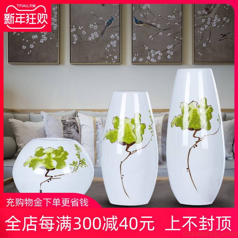 New Chinese style of jingdezhen ceramics three - piece flower vase home sitting room TV ark adornment furnishing articles
