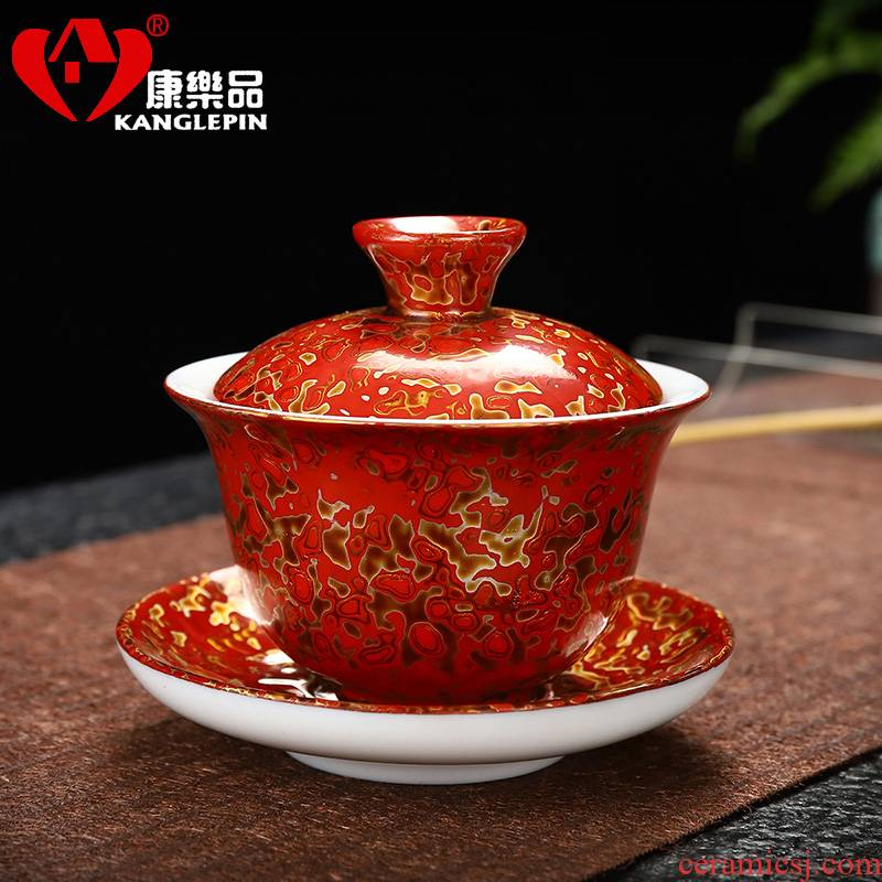 Recreational product lacquer white porcelain tea set big tureen capacity of 110 ml of pure manual only three tureen rhinoceros leather cup