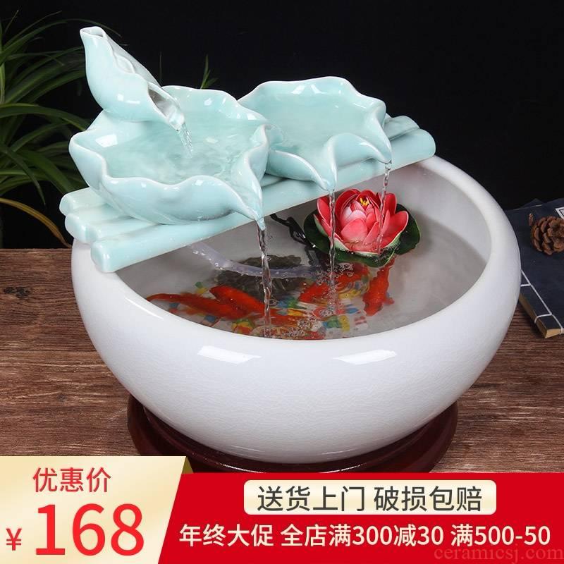 Ceramic water fountain furnishing articles atomizing humidifier water aquarium desktop zen sitting room interior decorations