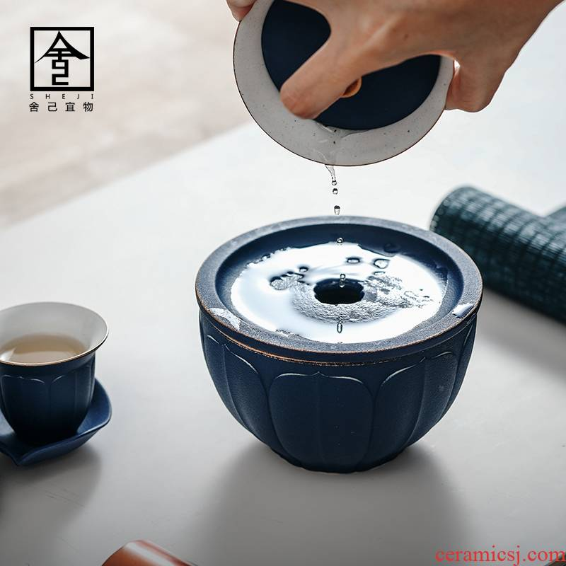 Jingdezhen dumb light blue ribbon on kung fu tea cups of water to wash in hot water jar kung fu fighting dry tea accessories