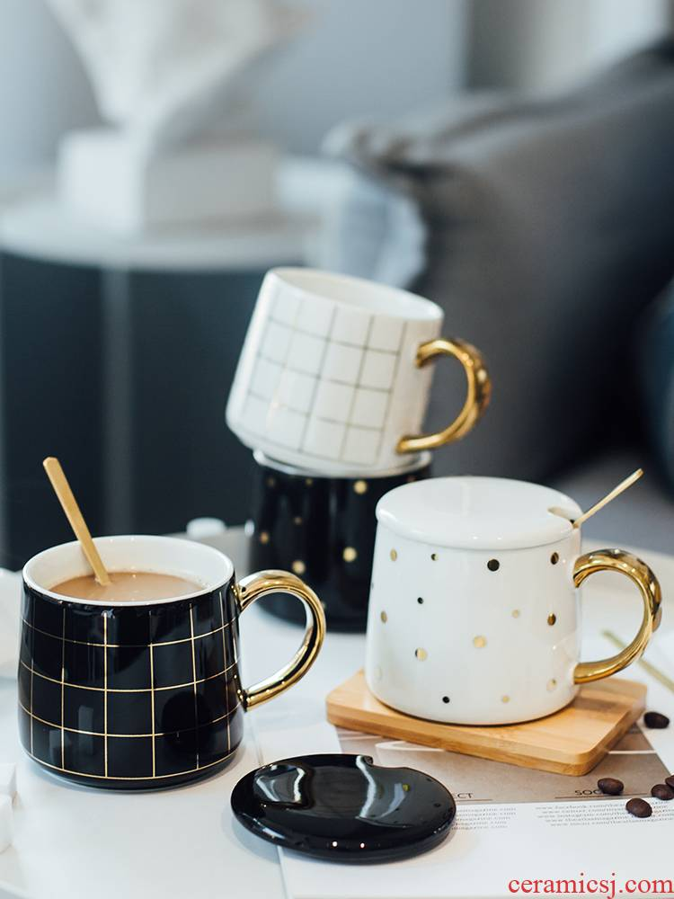 Contracted mark cup with cover teaspoons of female express ins Nordic ceramic water glass art office breakfast coffee cup