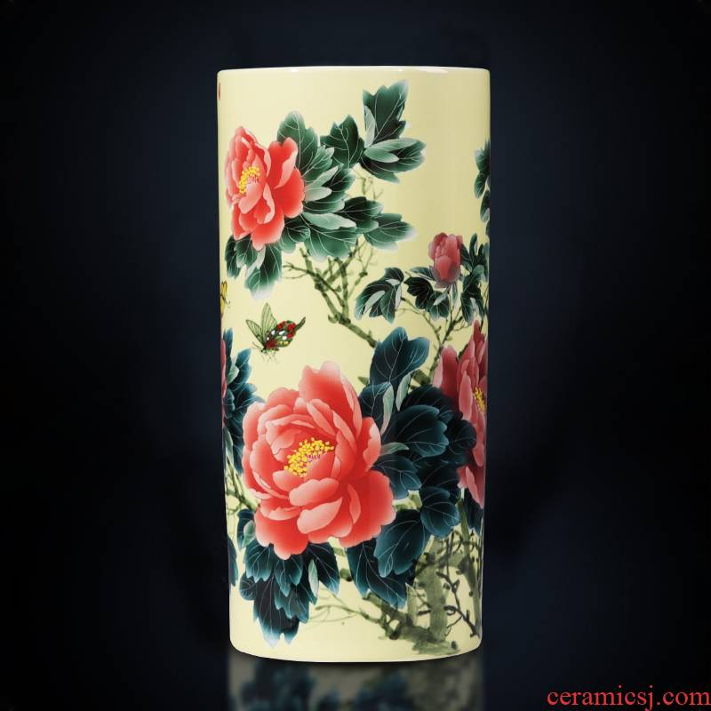 Jingdezhen ceramics hand - made vases straight cylinder large high ground Chinese style home sitting room adornment is placed
