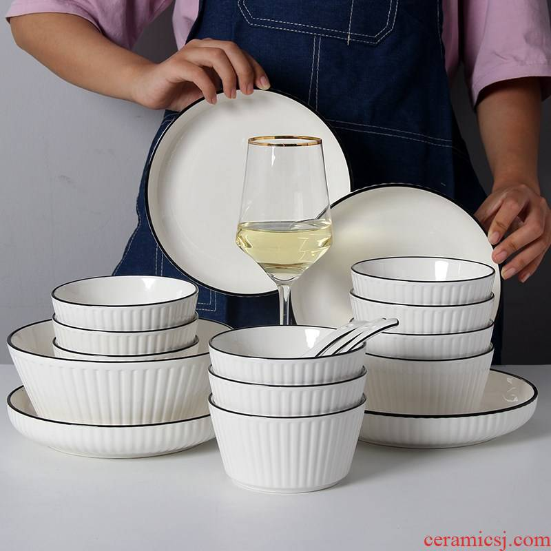 Home dishes suit Nordic ins web celebrity tableware ceramic bowl chopsticks contracted soup bowl combine the eat rice bowl dish originality