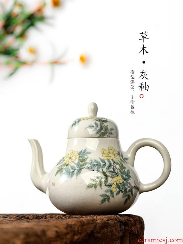 Jingdezhen Chinese teapot pure manual plant ash glaze kunfu tea teapot tea pot single pot female hand - made of flowers