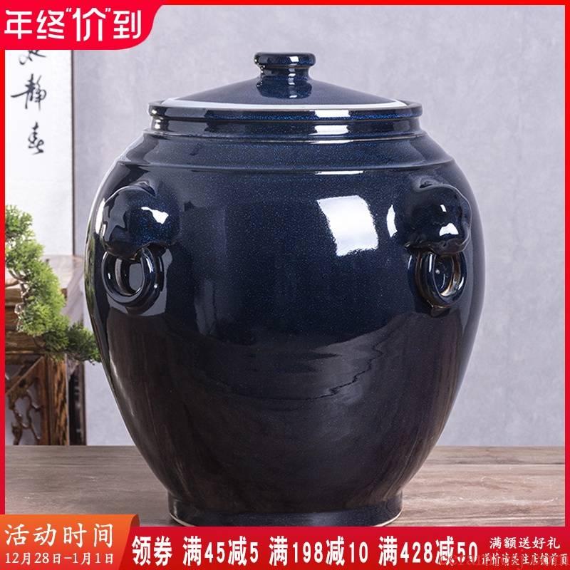Jingdezhen ceramic barrel with cover household 30 jins of 50 kg 100 flour barrels of kitchen retro grain storage tanks