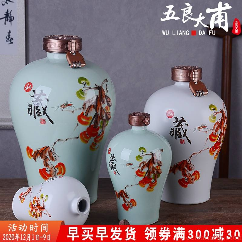 An empty bottle of jingdezhen ceramic household 1 catty 2 jins of three jin of 5 jins of 10 jins flask liquor archaize wind jars