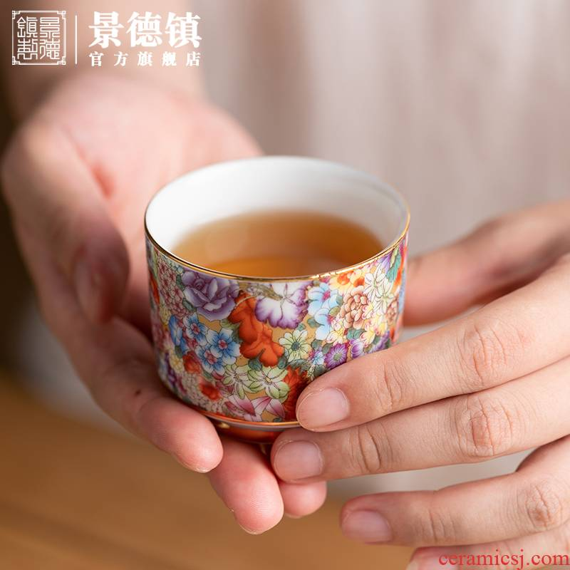 The Master of jingdezhen ceramic cups cup single CPU kung fu tea set sample tea cup cup gift boxes of household gifts move