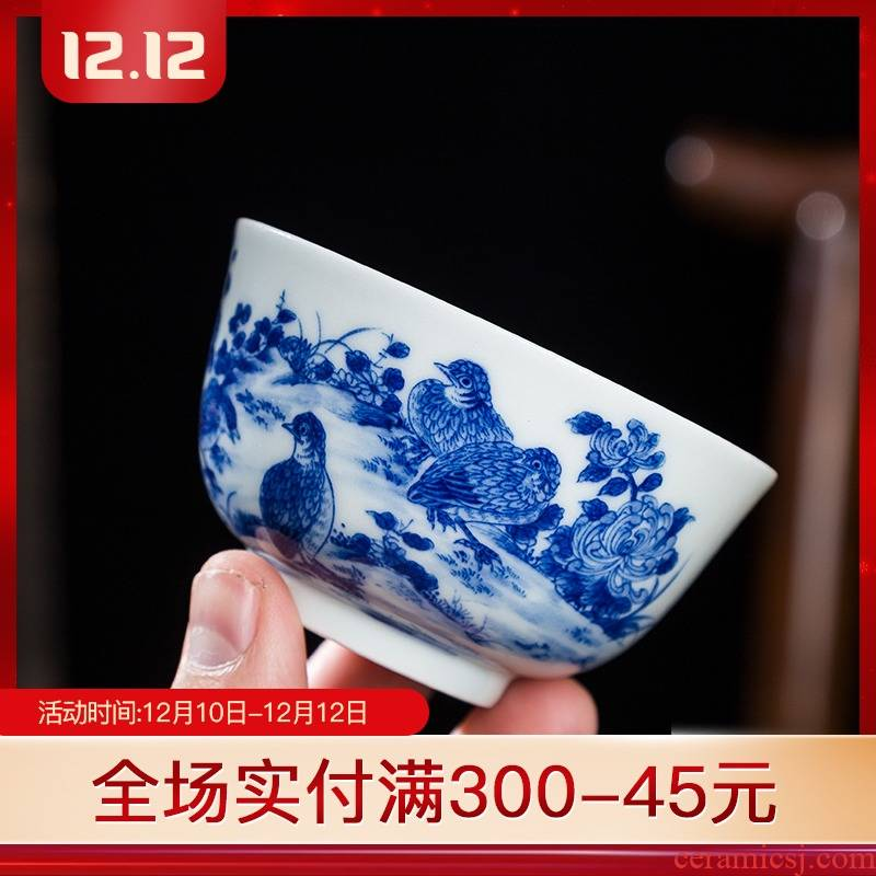 Folk artists hand - made quail by high - end ceramic kung fu master cup single cup of blue and white porcelain jingdezhen big cups