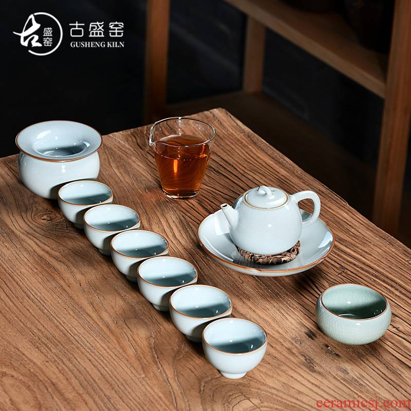 Ancient fill your up up tea set the set of contracted household ceramics kung fu tea cup side teapot porcelain up tea set