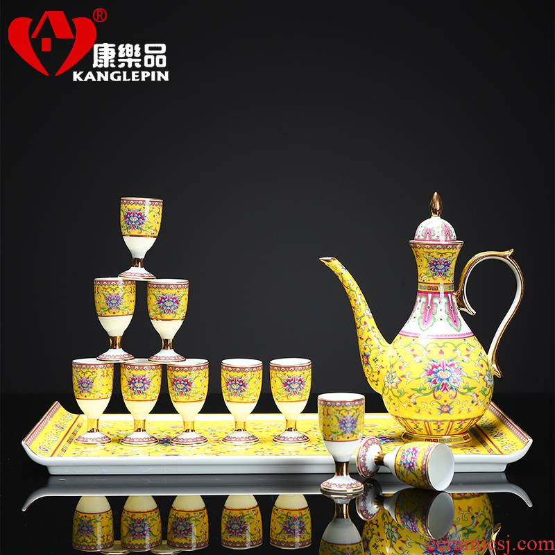 Recreational product wine suit household enamel jingdezhen Chinese ancient palace tall ceramic cups of rice wine liquor