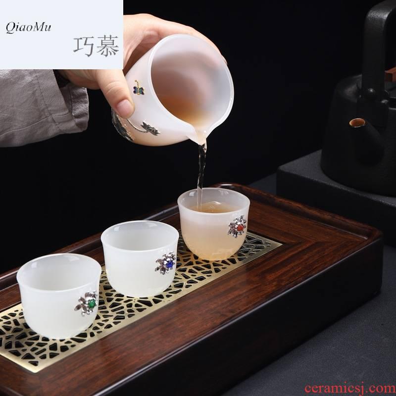 Qiao mu jingdezhen ceramic kung fu tea accessories fair silver coloured glaze jade white porcelain cup device and a cup of tea