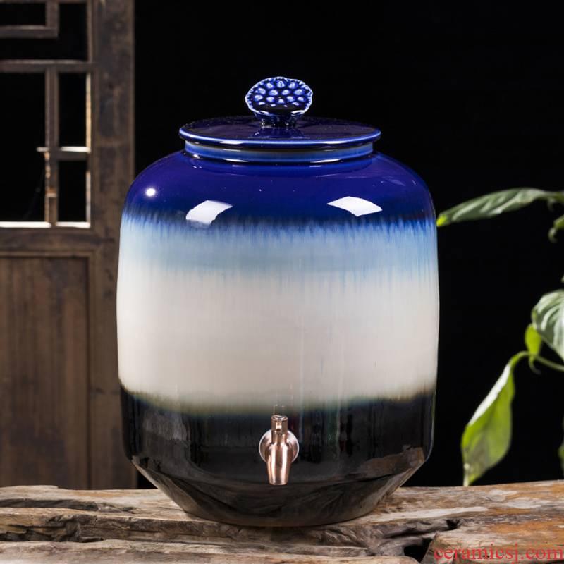Jingdezhen ceramic wine jar 15 kg 30 jins 50 pounds put it sealed empty wine bottle archaize home hip flask