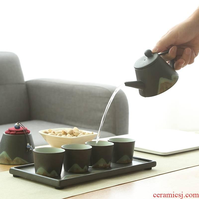 Qiao mu manual black pottery glaze painting tea set four cups with a pot of tea tray caddy fixings kung fu tea set