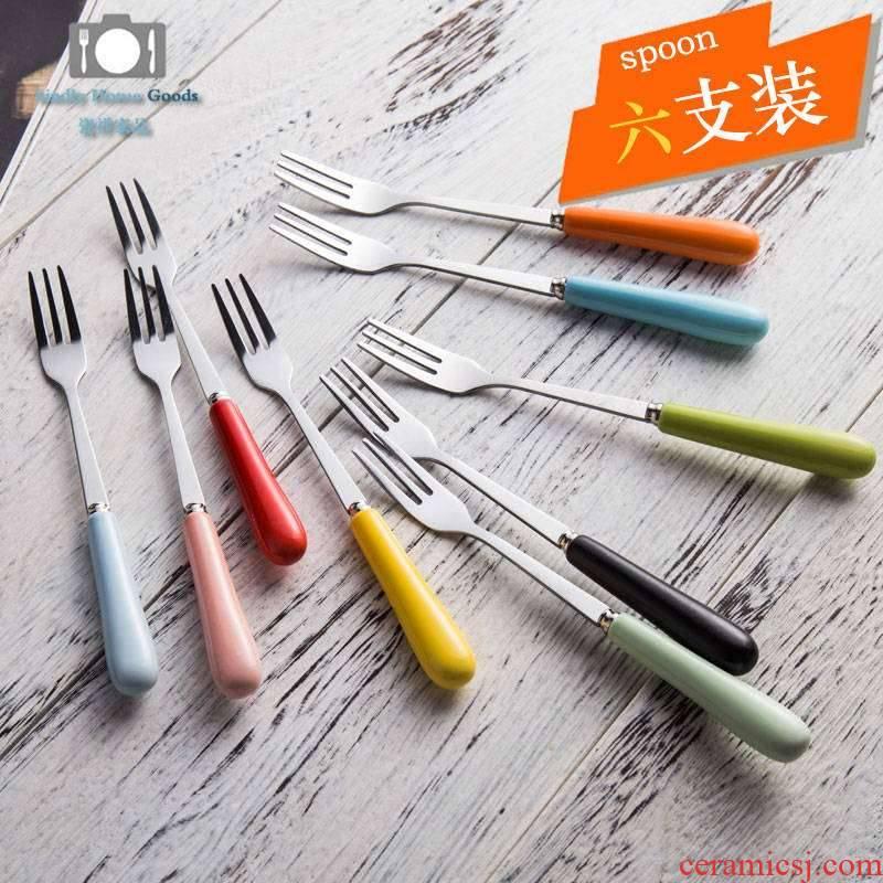 Creative ceramic handle stainless steel cake fork Korean lovely children small dessert fork fork fruit cake fork fork
