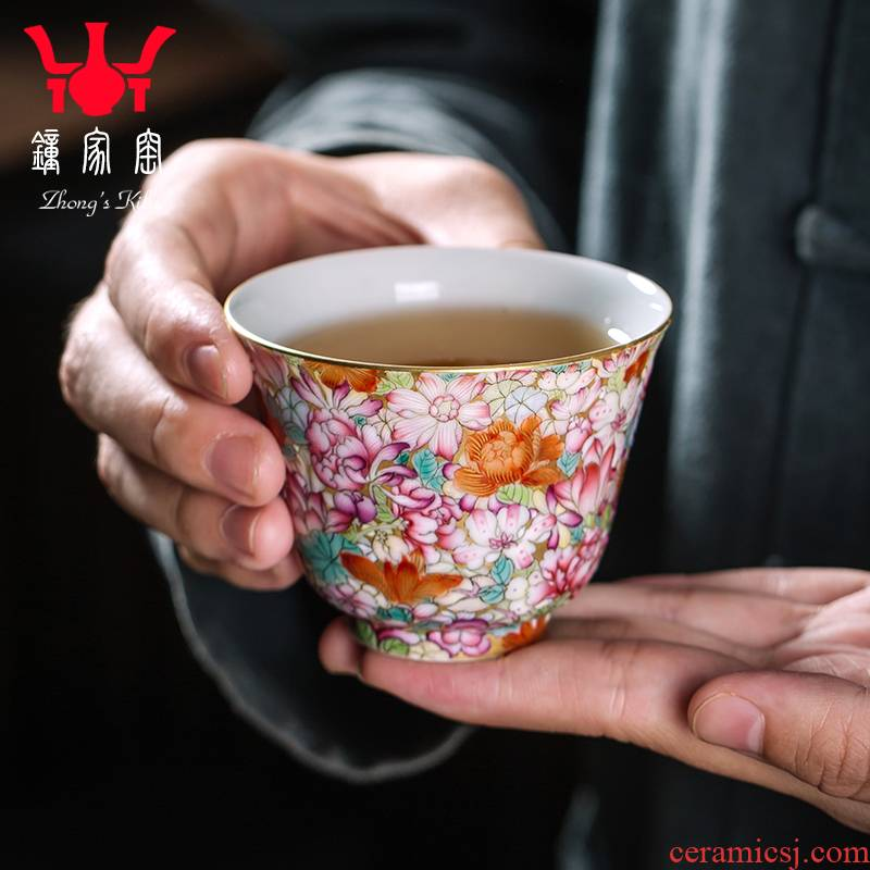 Clock at jingdezhen up enamel see colour master cup tea pure manual single small cup cup enamel Mosaic gold flower cup
