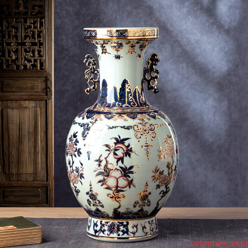 The see hand - made ceramic vase furnishing articles of blue and white porcelain of jingdezhen Chinese flower arranging rich ancient frame sitting room decoration