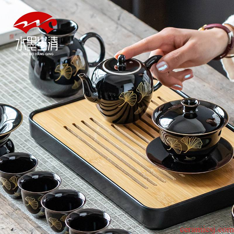 Ancient Chinese kung fu tea set home sitting room office high - end gift boxes ceramic teapot tea cups